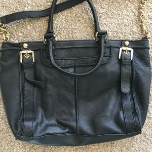 Steven by Steve Madden Black Leather Tote Purse